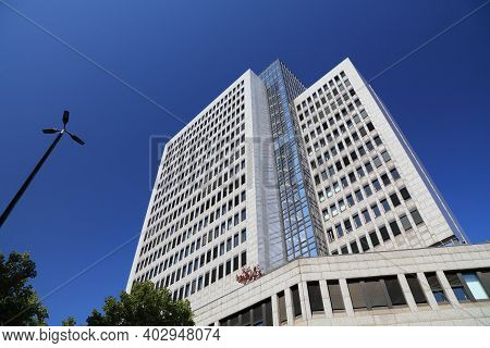 Dusseldorf, Germany - September 19, 2020: Landeszentralbank (state Central Bank) Office Building Dow