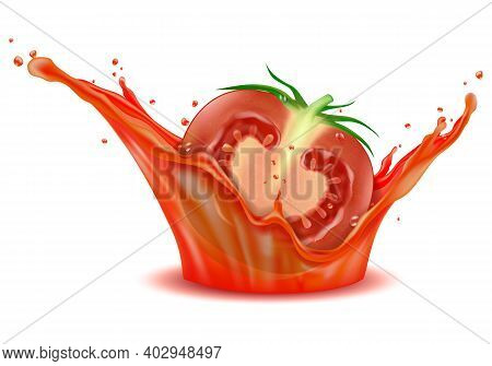 A Powerful Splash Of Fresh Tomato Juice With Sliced Tomato As Element For Food Product Or Drink Ad,