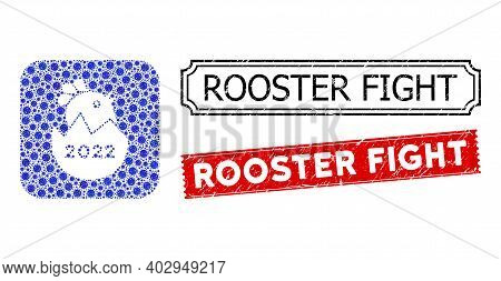 Vector Mosaic 2022 Hatch Chick And Grunge Rooster Fight Stamps. Mosaic 2022 Hatch Chick Designed As