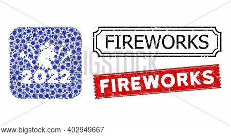 Vector Mosaic 2022 Rooster Fireworks And Grunge Fireworks Stamps. Mosaic 2022 Rooster Fireworks Cons