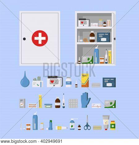 Medicine Cabinet For Safe Medication Storage. Empty Metal Open And Closed Medical Cabinet. Set Of Pi