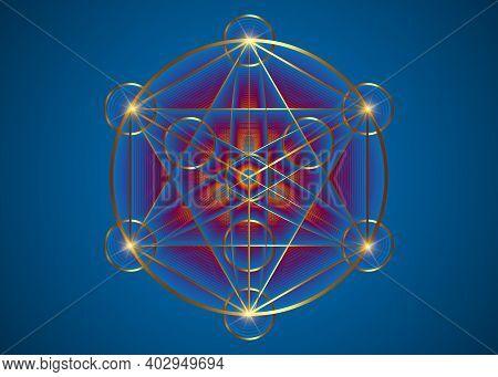 Alchemy Occult Mandala, Metatrons Cube, Flower Of Life. Gold Sacred Geometry, Graphic Element Magic