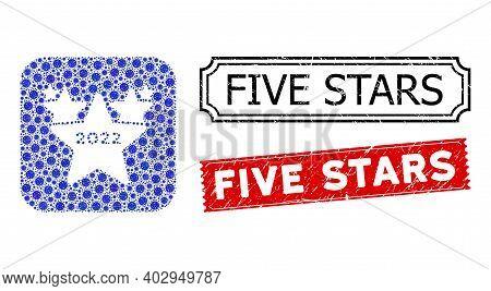 Vector Mosaic 2022 Star Hit Parade And Grunge Five Stars Stamps. Mosaic 2022 Star Hit Parade Created