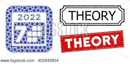 Vector Mosaic 2022 Year 7 Days And Grunge Theory Stamps. Mosaic 2022 Year 7 Days Designed As Carved