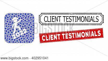 Vector Mosaic Gentleman Climbing 2022 And Grunge Client Testimonials Seal Stamps. Mosaic Gentleman C