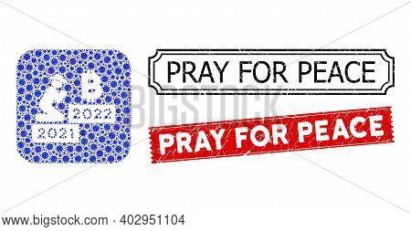 Vector Collage Gentleman Pray Bitcoin 2022 And Grunge Pray For Peace Seals. Mosaic Gentleman Pray Bi