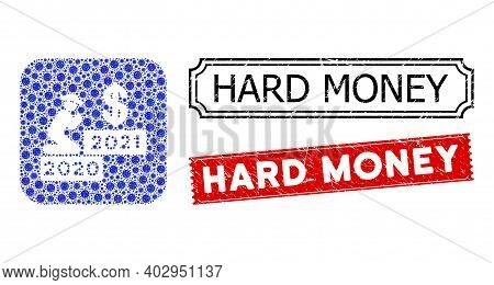 Vector Mosaic Gentleman Pray Dollar 2021 And Grunge Hard Money Stamps. Mosaic Gentleman Pray Dollar