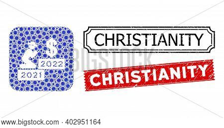 Vector Mosaic Gentleman Pray Dollar 2022 And Grunge Christianity Seal Stamps. Mosaic Gentleman Pray