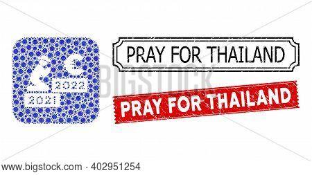 Vector Mosaic Gentleman Pray Euro 2022 And Grunge Pray For Thailand Seal Stamps. Mosaic Gentleman Pr