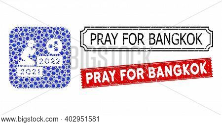 Vector Collage Gentleman Pray Ripple 2022 And Grunge Pray For Bangkok Stamps. Mosaic Gentleman Pray