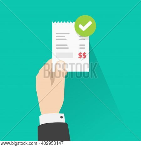 Person Holding Success Approved Payment Paper Receipt Bill Invoice Vector Flat Cartoon Isolated, Man