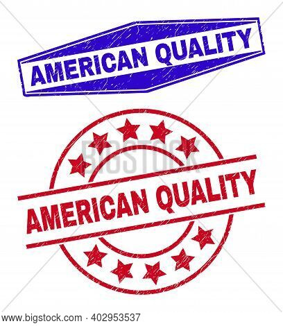American Quality Stamps. Red Rounded And Blue Squeezed Hexagonal American Quality Stamps. Flat Vecto