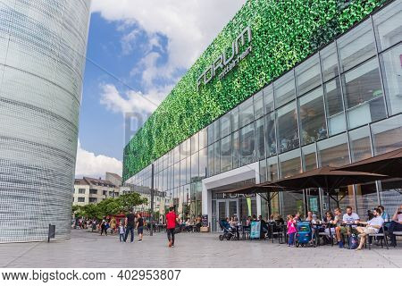 Koblenz, Germany - August 03, 2019: People Enjoying The Summer Weather At The Mall In Koblenz, Germa