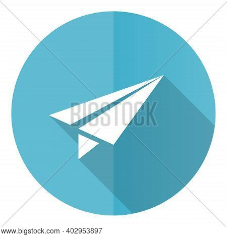 Paper Plane Blue Round Flat Design Vector Icon Isolated On White Background, Fly, Flight, Airplane I