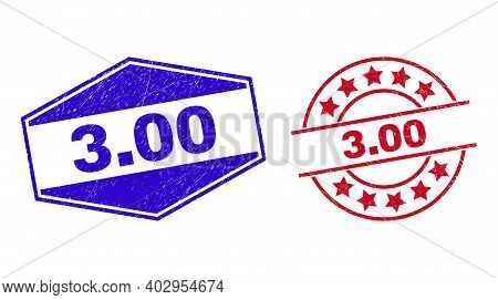 3.00 Stamps. Red Circle And Blue Flattened Hexagon 3.00 Seal Stamps. Flat Vector Distress Seal Stamp