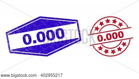 0.000 Stamps. Red Rounded And Blue Compressed Hexagon 0.000 Rubber Imprints. Flat Vector Grunge Seal