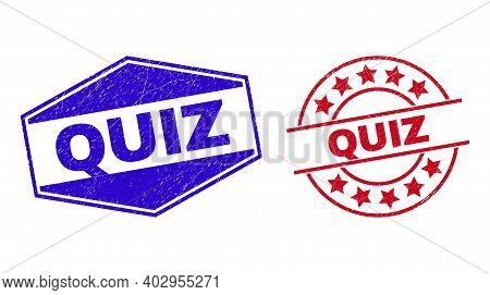 Quiz Stamps. Red Rounded And Blue Stretched Hexagonal Quiz Rubber Imprints. Flat Vector Scratched Se