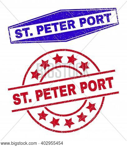 St. Peter Port Stamps. Red Round And Blue Compressed Hexagon St. Peter Port Watermarks. Flat Vector