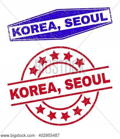 Korea, Seoul Stamps. Red Circle And Blue Squeezed Hexagon Korea, Seoul Watermarks. Flat Vector Grung
