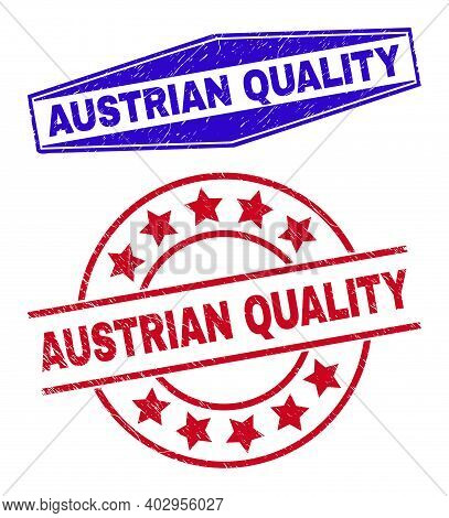 Austrian Quality Stamps. Red Rounded And Blue Flattened Hexagon Austrian Quality Seal Stamps.