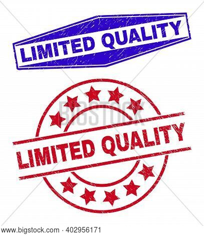 Limited Quality Stamps. Red Rounded And Blue Compressed Hexagonal Limited Quality Watermarks. Flat V