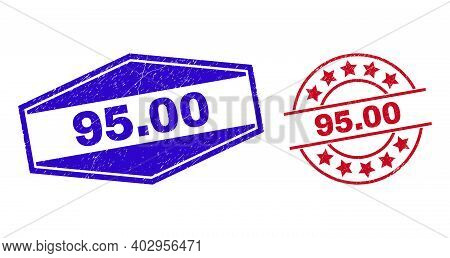95.00 Stamps. Red Rounded And Blue Stretched Hexagon 95.00 Rubber Imprints. Flat Vector Grunge Seal