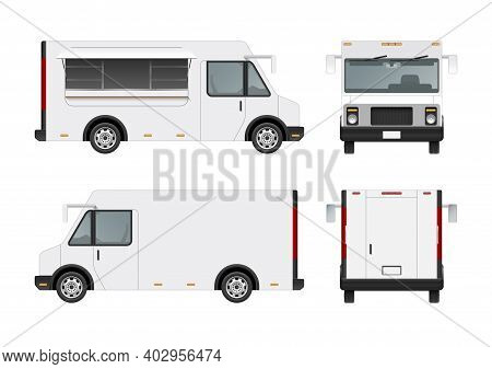 White Food Truck Vector Mock Up Template. Detailed Realistic Modern Delivery Service Vehicle Isolate