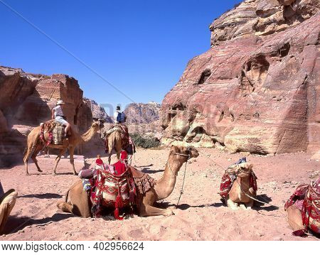 Wadi Rum,jordan-october 12,2004:a Group Of People Tourists On Camels  In The Desert Of Wadi Rum