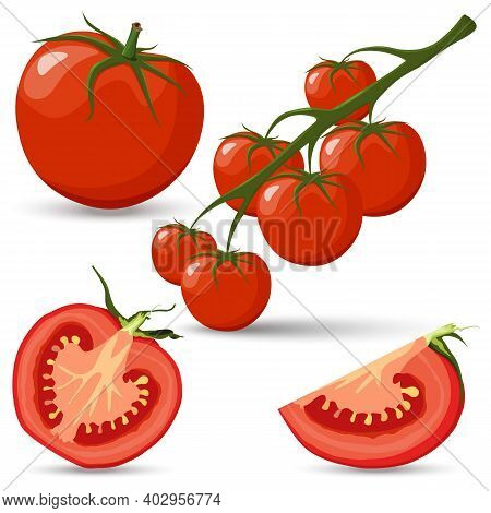 Set Of Tomatoes, Branch With Tomatoes, Red Tomato And Half Of Tomatoes And Slice With Green Leaves F