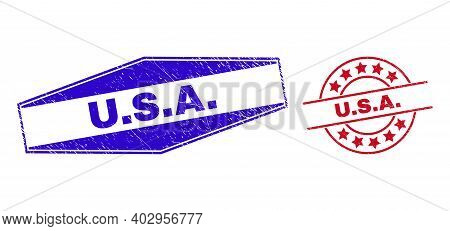 U.s.a. Badges. Red Rounded And Blue Stretched Hexagon U.s.a. Watermarks. Flat Vector Distress Seals