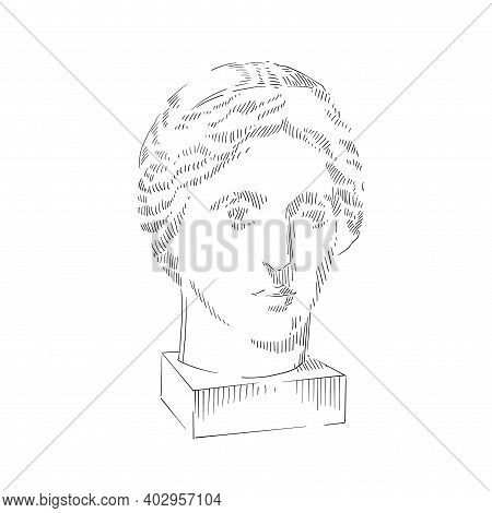 Line Art Of Antique Head Sculpture. Black Graphic Image On White Background. Sketch Hand Drawing Ill