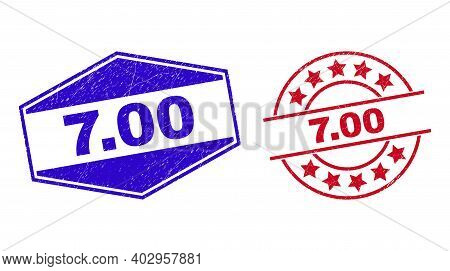 7.00 Stamps. Red Circle And Blue Stretched Hexagon 7.00 Seal Stamps. Flat Vector Textured Seal Stamp