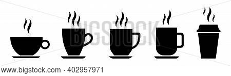 Coffee Cup Icon Set. Cups For Coffee And Tea. Cup With Steam Isolated On White Background. Hot Drink