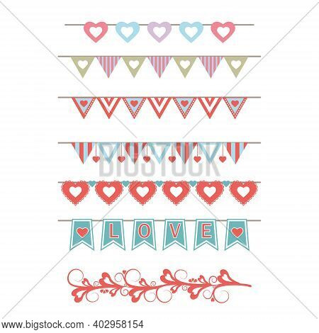 Set Of Holiday Paraphernalia, Vintage Garlands, Paper Flags And Hearts, For Decorating Greeting Card