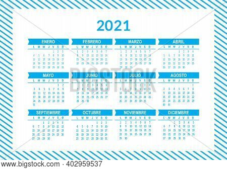 Spanish 2021 Year Vector Calendar. Week Starts On Lunes Monday. Abstract Illustration