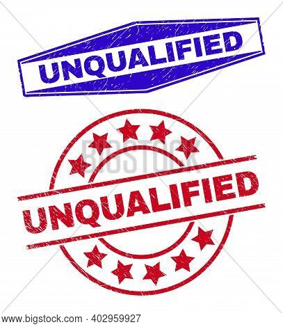 Unqualified Stamps. Red Circle And Blue Flattened Hexagonal Unqualified Seal Stamps. Flat Vector Dis