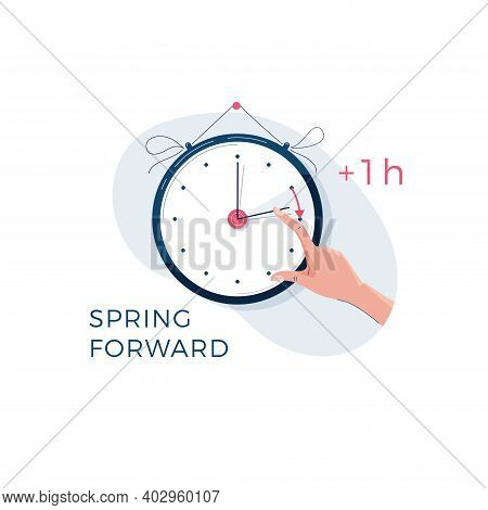 Daylight Saving Time Concept. Human Hand Is Turning The Clock Hands Forward By An Hour. Changing The