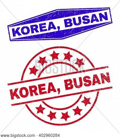 Korea, Busan Badges. Red Round And Blue Squeezed Hexagon Korea, Busan Seal Stamps. Flat Vector Grung