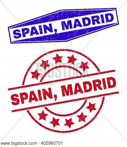 Spain, Madrid Badges. Red Round And Blue Flattened Hexagonal Spain, Madrid Seal Stamps. Flat Vector