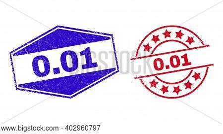 0.01 Stamps. Red Round And Blue Flattened Hexagonal 0.01 Rubber Imprints. Flat Vector Grunge Waterma