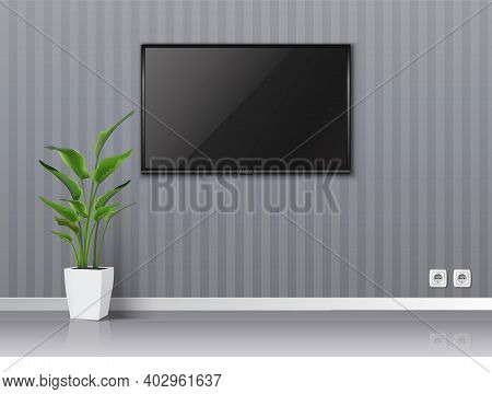 3d Realistic Vector Empty Living Room With Gray Walls An Tv Scree On The Wall Hanging And Floor Trop