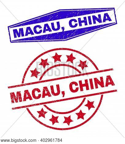 Macau, China Stamps. Red Round And Blue Flatten Hexagon Macau, China Watermarks. Flat Vector Distres
