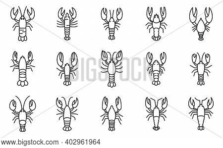 Marine Lobster Icons Set. Outline Set Of Marine Lobster Vector Icons For Web Design Isolated On Whit