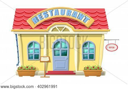 Vector Cartoon Style Restaurant Front View. Isolated On White Background With Green Trees And Bushes