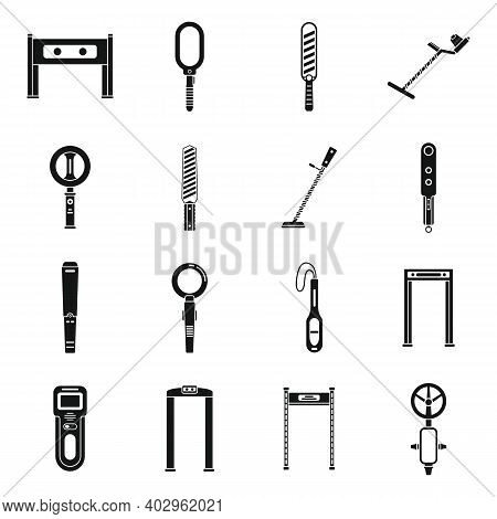 Metal Detector Access Icons Set. Simple Set Of Metal Detector Access Vector Icons For Web Design On