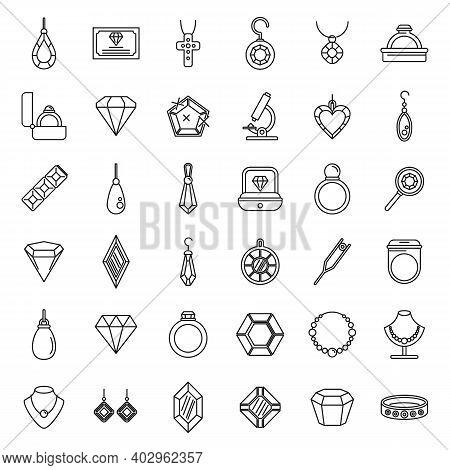 Jeweler Gem Icons Set. Outline Set Of Jeweler Gem Vector Icons For Web Design Isolated On White Back