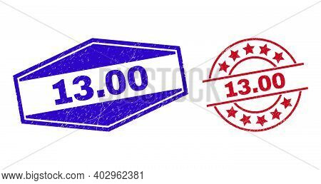 13.00 Stamps. Red Round And Blue Flattened Hexagonal 13.00 Seal Stamps. Flat Vector Distress Seal St