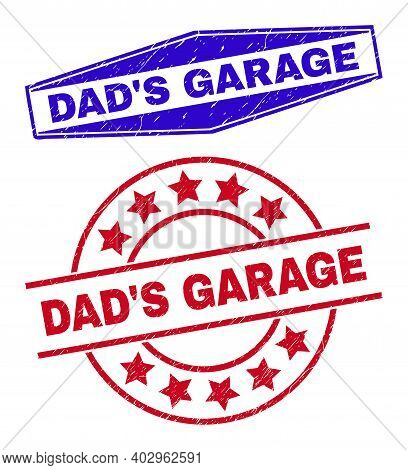 Dads Garage Stamps. Red Rounded And Blue Expanded Hexagonal Dads Garage Rubber Imprints. Flat Vector