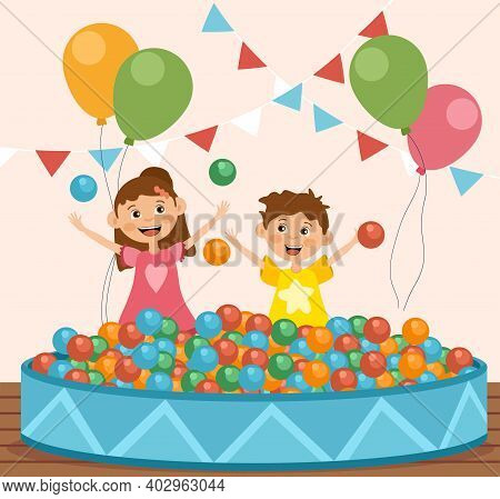 Children Playing With Colorful Balls In A Pit At A Fairground Or Carnival With Party Balloons Laughi