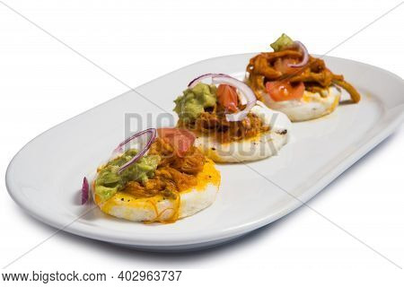Venezuelan Latin American Food, Arepa With Roasted Meat On A White Plate